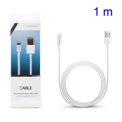 Accesorii Gsm Cablu Incarcare Si Sincronizare Date iPhone 5 5s 5c 6 6 Plus iPod iPad Pisen Lightning 8-Pin 1 metru Alb