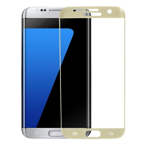 Accesorii Gsm Geam Protectie Display Samsung Galaxy S7 edge G935 Silk Acoperire Completa Gold