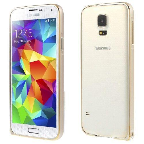 Accesorii Gsm Husa Bumper Samsung Galaxy S5 G900 Aluminiu Auriu