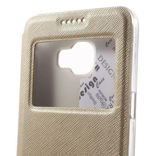 Accesorii Gsm Husa Flip Cu Stand Si Fereastra Samsung Galaxy C5 Cross Series Gold