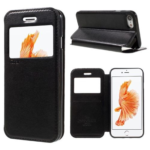 Accesorii Gsm Husa iPhone 7 Flip Cu Stand Si Fereastra ROAR KOREA Series Neagra