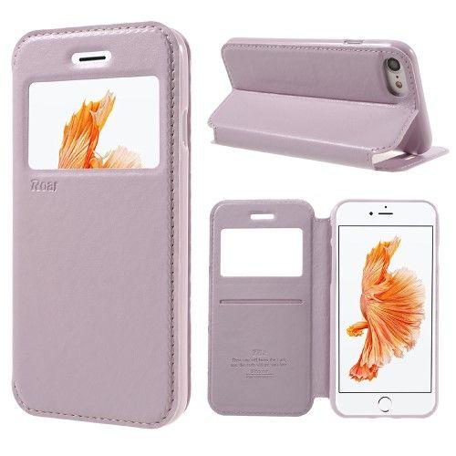 Accesorii Gsm Husa iPhone 7 Flip Cu Stand Si Fereastra ROAR KOREA Series Roz