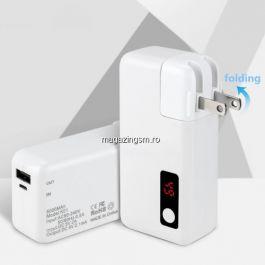 Acumulator Extern Cu Incarcator Priza Incorporat Power Bank 5000mAh Universal Alb