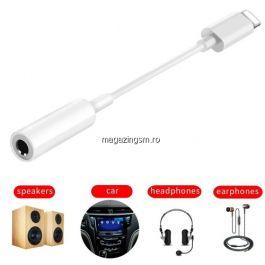 Adaptor Lightning 8 Pin Cu Jack Audio Casti iPhone XR XS Max XS X 8 Plus 8 7 Plus 7 Alb