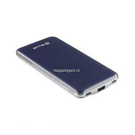 Baterie externa Slim 10000mAh USB + Type-C + Micro USB, albastru
