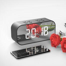 Boxa Portabila Wireless Bluetooth Cu Ceas Neagra