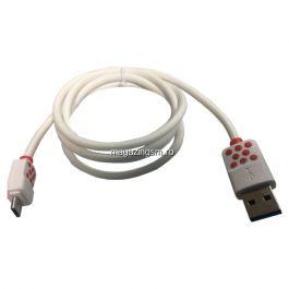 Cablu Date Si Incarcare Micro USB Alcatel Go Play Alb Cu Buline
