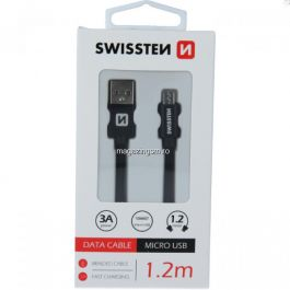 Cablu Date Si Incarcare Micro USB Textil 1,2 m Samsung Huawei LG Asus Allview Negru