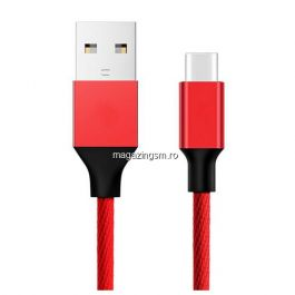 Cablu Date Si Incarcare USB Type C Samsung Huawei Allview Textil Rosu