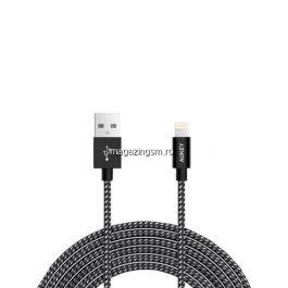 Cablu de date / incarcare Aukey CB-D42, pentru Apple, lungime 2 m, negru / alb