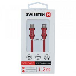 Cablu Incarcare si Date Swissten USB-C - Lightning textil 1,2m Rosu