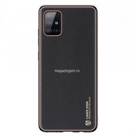 Husa telefon Dux Ducis Samsung Galaxy A71 TPU din piele ecologica Neagra