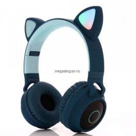 Casti audio copii cu urechiuse luminoase, Albastre