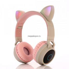 Casti audio copii cu urechiuse luminoase, Khaki