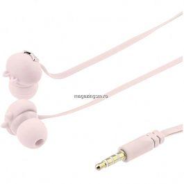 Casti In-Ear Tellur Eu sunt Pixycu urechi de pisica Microfon 3.5 Mm+Husa cu fermoar Roze