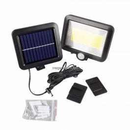 Corp Iluminat Exterior Tip Aplica Led Cu Panou Solar Si Senzor De Miscare Negru