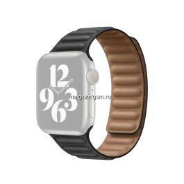 Curea Apple Watch Series 4 / 5 / 6 SE 44mm Series 1 / 2 / 3 42mm Piele Ecologica Neagra