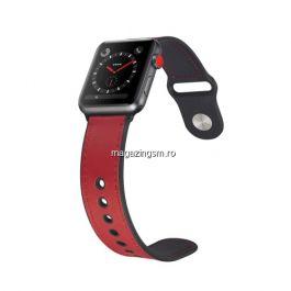 Curea Apple Watch Series 4 / 5 / 6 SE 44mm Series 1 / 2 / 3 42mm Piele Ecologica Rosie