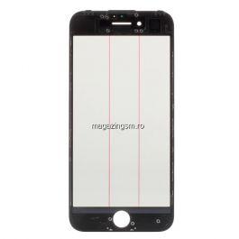 Geam Sticla iPhone 7 Cu Rama si Adeziv Sticker Negru