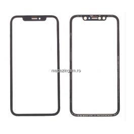 Geam Sticla iPhone X Cu Rama Si Adeziv Sticker Negru