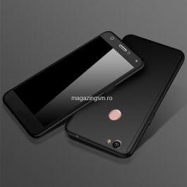 Husa Huawei P8 Lite 2017 Acoperire Completa 360 De Grade Cu Geam Protectie Display Matuita Neagra