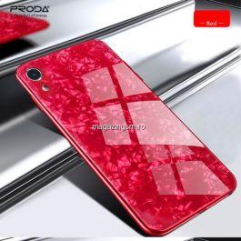 Husa iPhone X Cu Spate Din Sticla Rosie