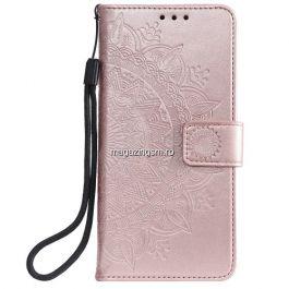 Husa Samsung Galaxy A20e Flip Cu Stand Roz Aurie