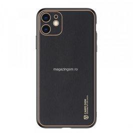 Husa Apple iPhone 11, piele ecologica, Negru/Auriu