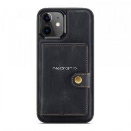 Husa silicon iPhone 12 mini, portofel magnetic detasabil, Negru