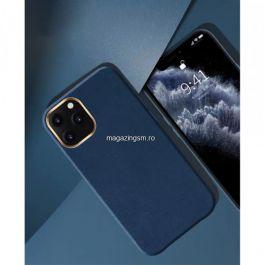 Husa TPU cu insertie de piele ecologica Apple iPhone 12, Albastru