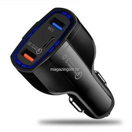 Incarcator Masina BlackBerry Keyone Dual USB Si USB Tip C Negru