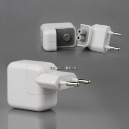 Incarcator iPhone X 8 8 Plus 7 7 Plus 6S 6s Plus 5S iPad iPad 2 iPad 3 iPad 4 iPad 5 iPod 10W Alb