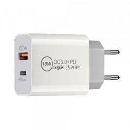 Incarcator retea 18W cu port USB si USB Type C Quick Charge 3,0 Alb