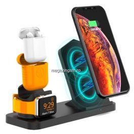 Incarcator Wireless 3 in 1 iPhone Ceas Apple Casti Apple AirPods Negru