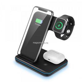 Incarcator Universal Wireless 3in1  Qi Fast Charger 15W, Negru