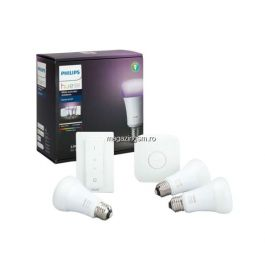Pachet 3 becuri inteligente LED RGB Philips Hue E27, 10W (60W), 806 lm, lumina alba/colorata + Bridge si Variator