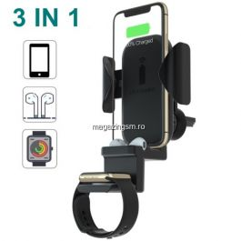 Suport Auto Cu Incarcator Wireless 3 in 1 Apple Watch Apple AirPods iPhone Samsung Huawei