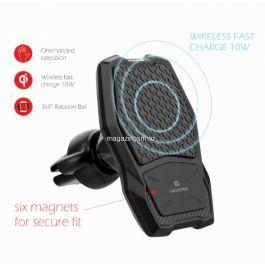 Suport Auto Magnetic Cu Incarcare Wireless 10W Negru