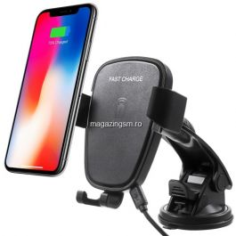 Suport Telefon Auto Samsung LG Allview iPhone Huawei Cu Incarcare Wireless Negru