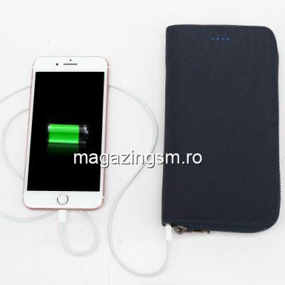 Acumulator Extern 2 in 1 Portofel Samsung Huawei iPhone Allview Power Bank 4800mAh Negru