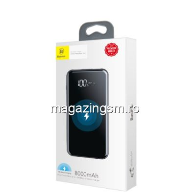 Acumulator Extern cu Incarcare Wireless Dual USB iPhone Samsung Nokia LG Power Bank Wireless Charger 8000mAh Negru