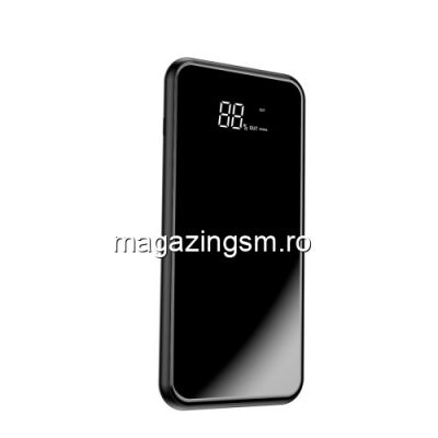 Acumulator Extern cu Incarcare Wireless Dual USB Samsung Galaxy S10e Power Bank Wireless Charger 8000mAh Negru