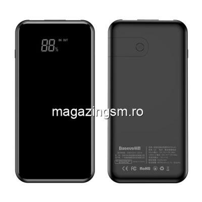 Acumulator Extern cu Incarcare Wireless Dual USB Samsung Galaxy J8 Power Bank Wireless Charger 8000mAh Negru