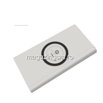 Acumulator Extern cu Incarcare Wireless iPhone Samsung Huawei Power Bank Wireless Charger 6000mAh Alb