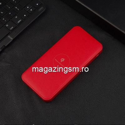 Acumulator Extern cu Incarcare Wireless iPhone Samsung Power Bank Wireless Charger 10000mAh Rosu