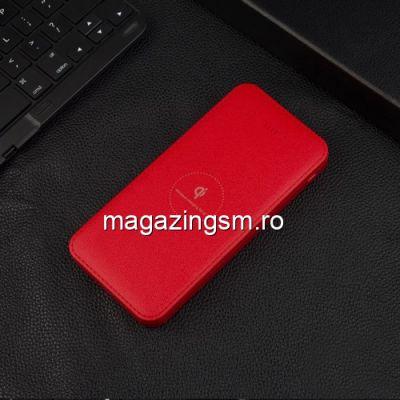 Acumulator Extern cu Incarcare Wireless iPhone Samsung Power Bank Wireless Charger 10000mAh Rosu
