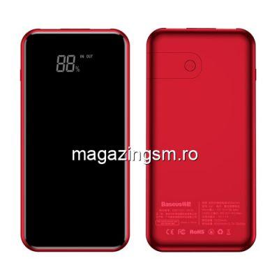 Acumulator Extern Cu Incarcare Wireless Samsung Huawei iPhone Asus BASEUS Rosu