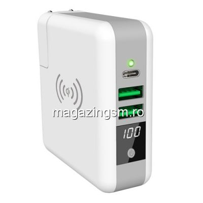 Acumulator Extern Cu Incarcare Wireless Si Incarcator Incorporat Universal Alb