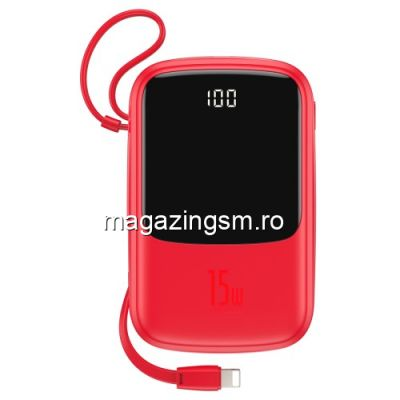 Acumulator Extern Huawei Samsung iPhone Asus LG Power Bank Baseus 10000mAh Rosu