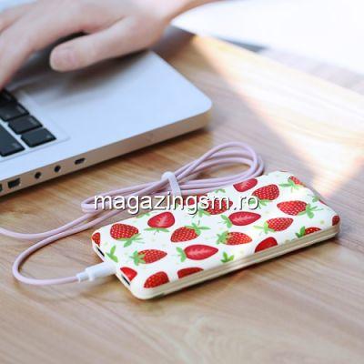 Acumulator Extern iPhone iPad Samsung Huawei HTC LG Power Bank Dual USB 10000mAh USAMS Model Capsuni